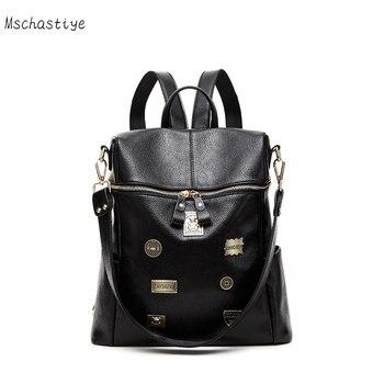 Mschastiye Women Backpack Badge Ladies Backpack Black Girls School Backpack 2018 Teenager Large Capacity Ladies School Bag