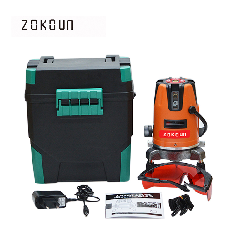 EU plug Zokoun 05RCO 5 Lines 6 Points with plumb dot Tilt Functional 360 rotary self leveling 635NM laser level Tools eu plug tilt functional 5 cross lines 6 points self leveling 360 degree rotary red beam cross line laser with its tripod