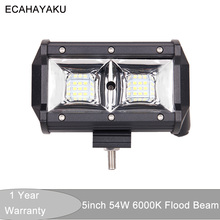 цена на ECAHAYAKU 1x 10-30V DC 4x4 truck car ATV UTV 5 54W spot beam led work light for JEEP boat tractor waterproof Car styling truck