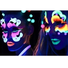 Halloween Neon Color Body & Face Painting Makeup UV Reactive Flash Tattoo temporarily Shining Run Glow Dark Oil Paint