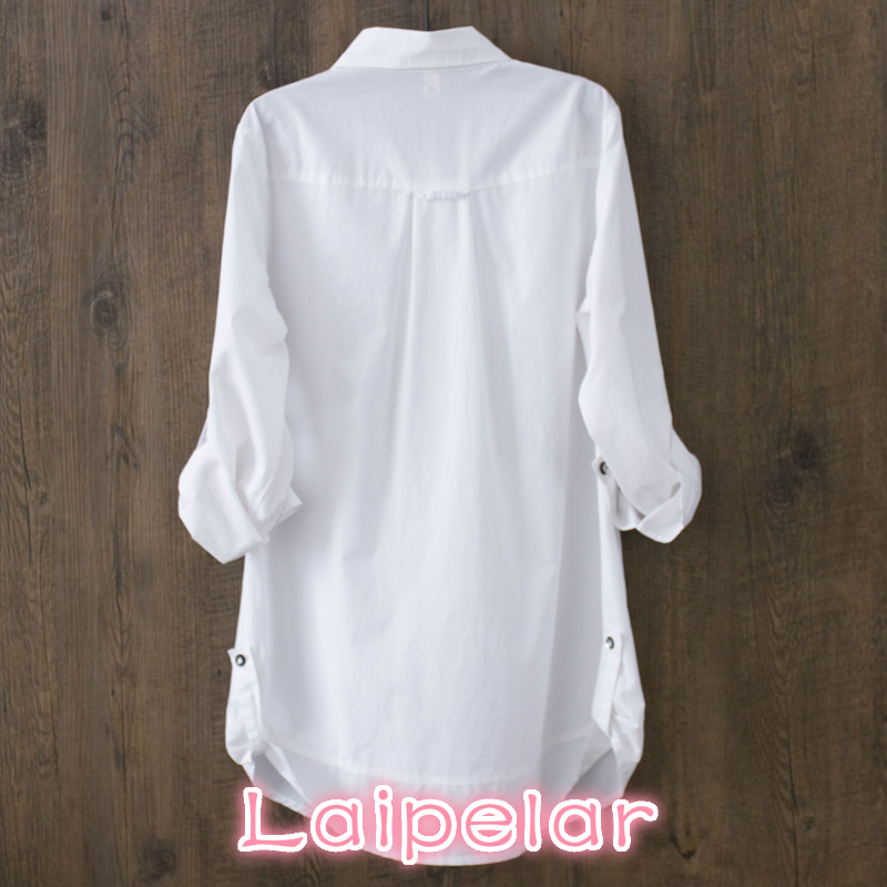 100 cotton 2018 Spring Summer Women White blouse long sleeved slim cotton casual work white shirts office lady button tops 0 22 in Blouses amp Shirts from Women 39 s Clothing