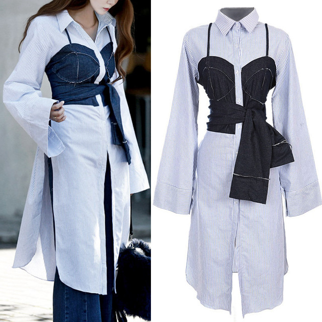 Women 2017 New Street Denim Stitching Fake Two Pieces Long Shirt Dress Lady Striped Long Shirt Blouse