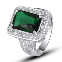 lingmei Free Shipping Gorgeous Emerald Quartz White Topaz 925 Silver Ring Size 7 8 9 10 Unisex Party Jewelry Fashion Wholesale