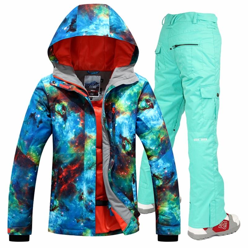 Gsou snow 2017 jeu de combinaison de ski femmes de snowboard veste et pantalon de costume de ski femmes coupe-vent imperméable femmes hiver chaud vestes