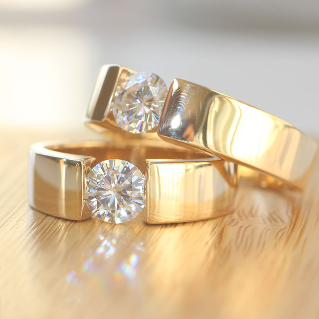 6.5mm Wide 1 Carat New D/E/F Engagement Wedding Lab Grown Moissanite Diamond Ring For Men&Women 14k 585 Yellow Gold