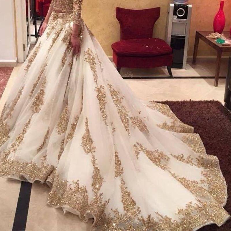 Two Piece Luxury White Gold Wedding Dresses Long Sleeve V Neck ...