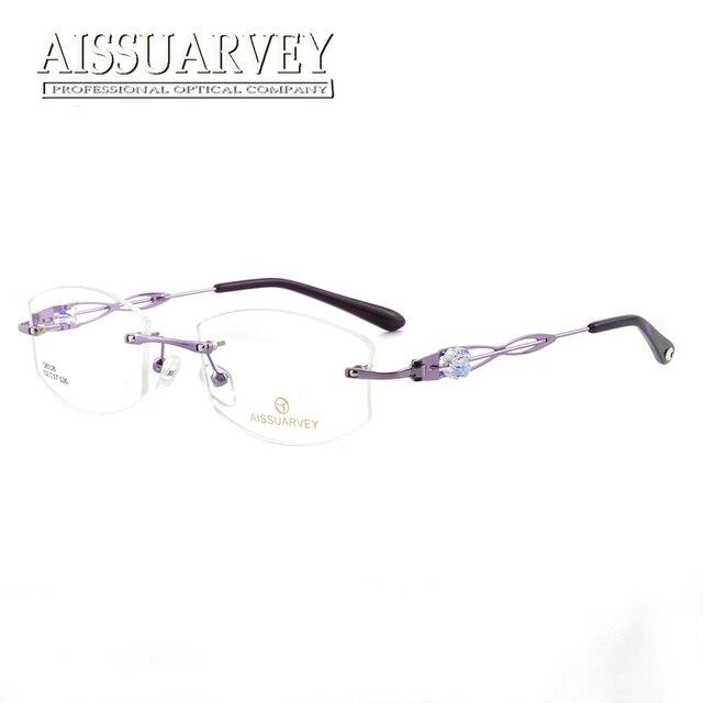 569915b2b3 Rhinestone Rimless Eyeglasses Frame Women Optical Glasses Prescription  Brand Designer Top Quality Eyewear Hollow Diamond Special
