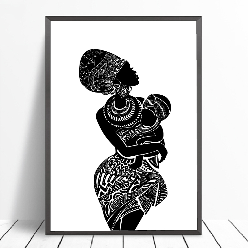 Beautiful African Woman With Baby Bedroom Wall Art Canvas Painting Black And White Wall Picture Poster Modern Print Home Decor Aliexpress