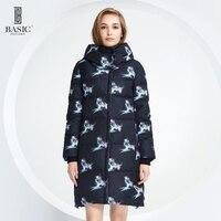 Basic Vogue Women Winter Bird Pattern Long Down Parka Jacket With Hood Y16012