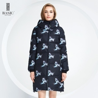 Basic Vogue Women Winter Bird Pattern Long Down Parka Jacket With Hood Y16012
