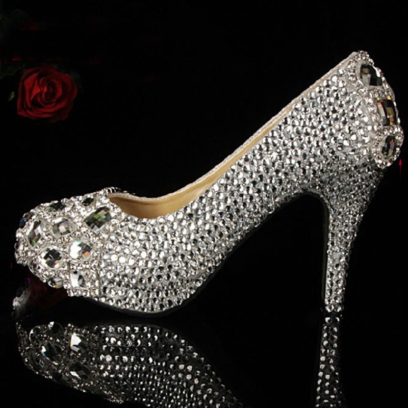 2018 Handmade Silver high heel crystals and rhinestones bridal wedding  shoes Diamond Lady Shoes for Wedding Party-in Women s Sandals from Shoes on  ... 32c9297b69f1