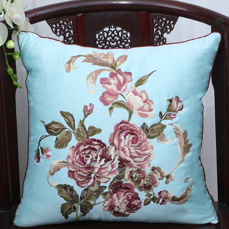 Marvelous Us 22 75 9 Off Hand Embroidered Peony Cushion Covers Flowers Pillowcases Decorative Pillows Christmas Chair Covers For Cushions Pillow Case In Creativecarmelina Interior Chair Design Creativecarmelinacom