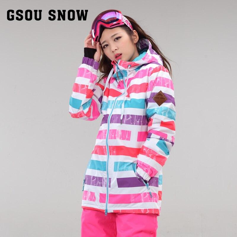 Gsou snow invierno traje de esquí femenino chaqueta de esquí chaquetas de snowbo