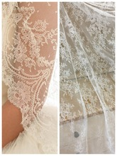 Off White Slim French Chantilly Lace Fabric ,Elegant Sheer Floral Wedding Soft Bridal