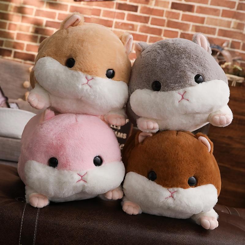 50cm Cute Hamster Mouse Plush Toy Stuffed Soft Animal Hamtaro Pillow Handwarmer Lovely Kids Baby Toy For Children Christmas Gift