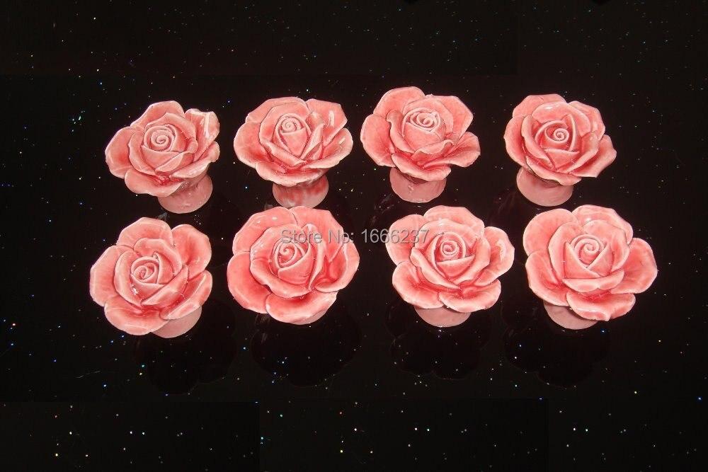 Дополнительно Розовый Винтаж Роза цветочная керамическая дверная ручка шкафчика ящик Кухня нажимная ручка для шкафа DIY HD017