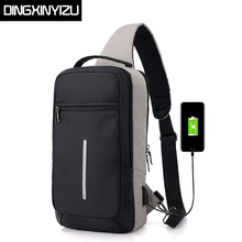 DINGXINYIZU USB Design Chest Bag Waterproof Men Messenger Casual Sling Shoulder Bags Crossbody Travel DayPack Pack