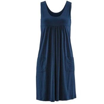 Модное платье в полоску, летнее платье большого размера, свободное простое платье без рукавов, женская одежда 6