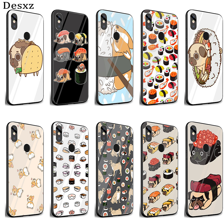 Official Website Gerleek Glass Sushi Pug Novelty Fundas Case Cover For Xiaomi Mi 8 Lite 9 A1 A2 Redmi Note 5 6 7 Pro 6a 4x Pocophone F1 Complete Range Of Articles Half-wrapped Case Cellphones & Telecommunications