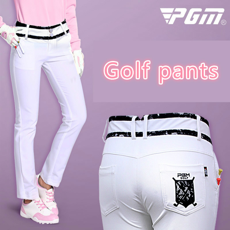 PGM spring Women Golf Sportswear High elastic Breathable sports pants Black lace White Trousers lady Golf Pants Can insert TEE