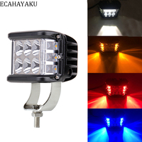 1Pcs ECAHAYAKU Dually 4 Inch 60W Cube Side Shooter LED Work Light Strobe Driving For Off road Truck Tractor SUV ATV 4WD Boat 4x4