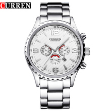 CURREN White Full Stainless Steel Calendar Waterproof Mens Military Sport Wrist Watch Top Brand Luxury Quartz Male Clock Relogio curren brand design new 2016 sport steel clock quality steel military man male luxury gift wrist quart business army watch 8056