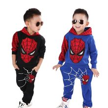 New Baby Boys Spring Autumn Spiderman Sports suit 2 pieces set Tracksuits Kids Clothing sets 100-150cm Casual clothes Coat+Pant(China)