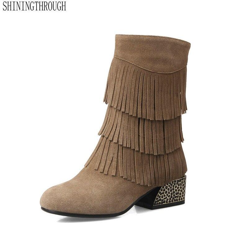 Med Chaussures Femmes Beige En Rouned Orteil Cuir Véritable Cristal Bottines 2018 Talons Fringe Nouveau Bottes noir hrsdtQCx