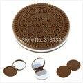 Promoción 1 unids Nueva llegada ght Brown Cookies Lindos Formó Diseño Espejo de Maquillaje Chocolate Comb