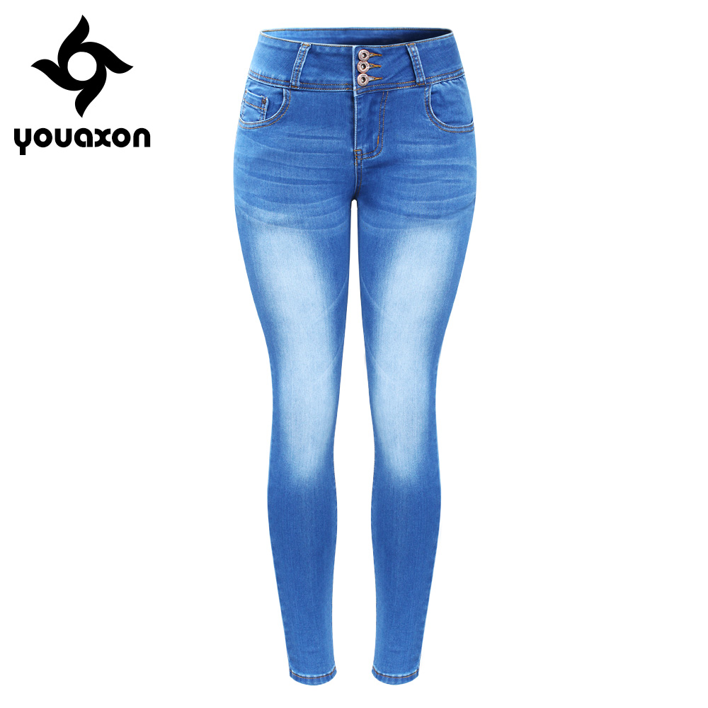 2143 Youaxon New Arrived Plus Size Faded Jeans For Women Stretchy Five Pockets Denim Skinny Pants Trousers