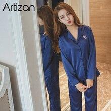 Artizan Slik Saten Pijama Kadınlar için Uzun Kollu Düğme aşağı Pijama Takımı Pijama 2 Adet