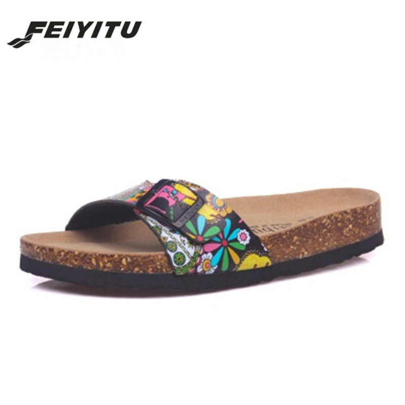 FeiYiTu 2018 Summer Cork Slipper Men Casual Beach Mixed Color Flip Flops Slides Shoe Flat Black Brown Green Red White(China)