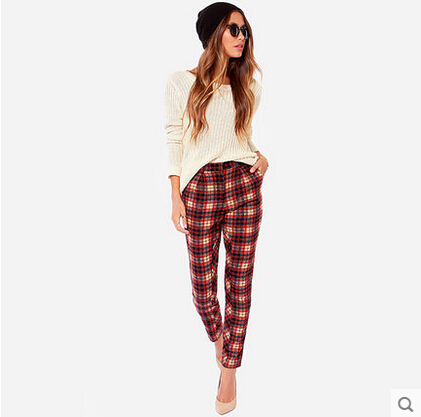 Casual Sport Style Women Cotton Pencil Ankle Pant Trendy Red White Plaids Classical Pattern Slim