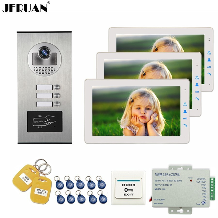 JERUAN Apartment Wired 9 inch LCD Video Door Phone Doorbell Intercom System Kit Metal HD RFID Access Camera For 3 Household jeruan home wired 9 inch lcd video intercom door phone doorbell unlock intercom system kit hd ir camera in stock free shipping