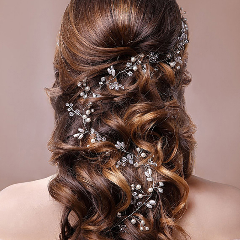 Crystal Pearl Hair Belt Wedding Bridal Hair Ornaments