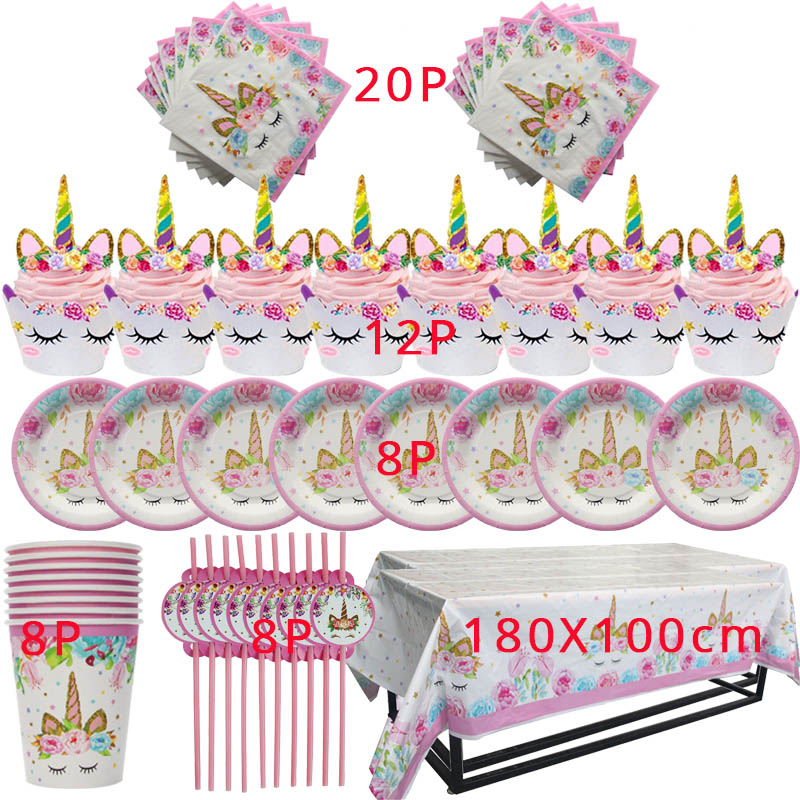 Unicorn Party Disposable Tableware Sets For 8 Guests Unicorn Tablecloth Cup Napkin Baby Shower Birthday Party Kids Favors