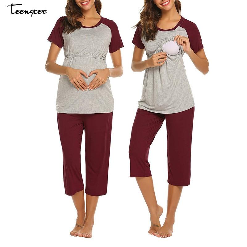Teenster Maternity Nightwear Nursing Set Short Sleeve Shirt&Adjustable Shorts Pregnant Pajamas Breastfeeding Women Clothing