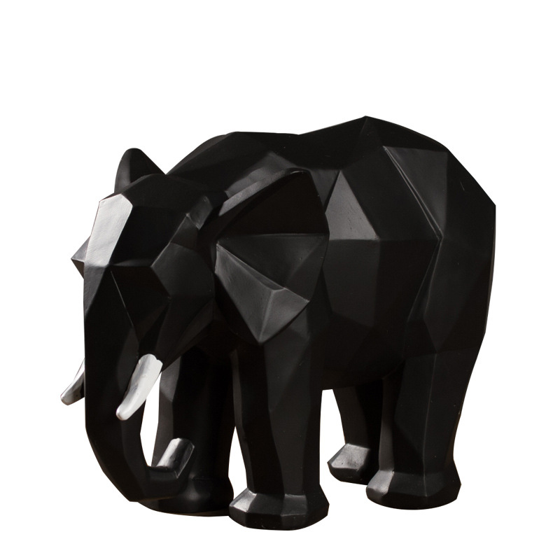 Elephant Statue Resin Ornament Model Modern Abstract Black White Lucky Elephant Sculpture Animal  Crafts Home Decoration Gifts