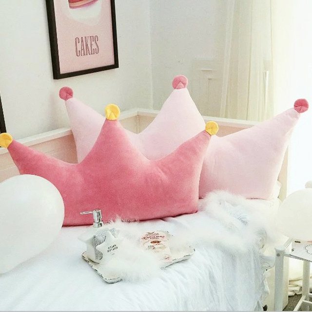 Ins Pink Korean Crown Princess Wind Pillow Washable Backrest Bed Children S Room Cushions Birthday Gift