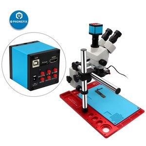 Image 2 - 3,5x 90X Simul focal Zoom Тринокулярный Стерео микроскоп VGA HDMI цифровая камера видео микроскоп для телефона PCB Чип пайки