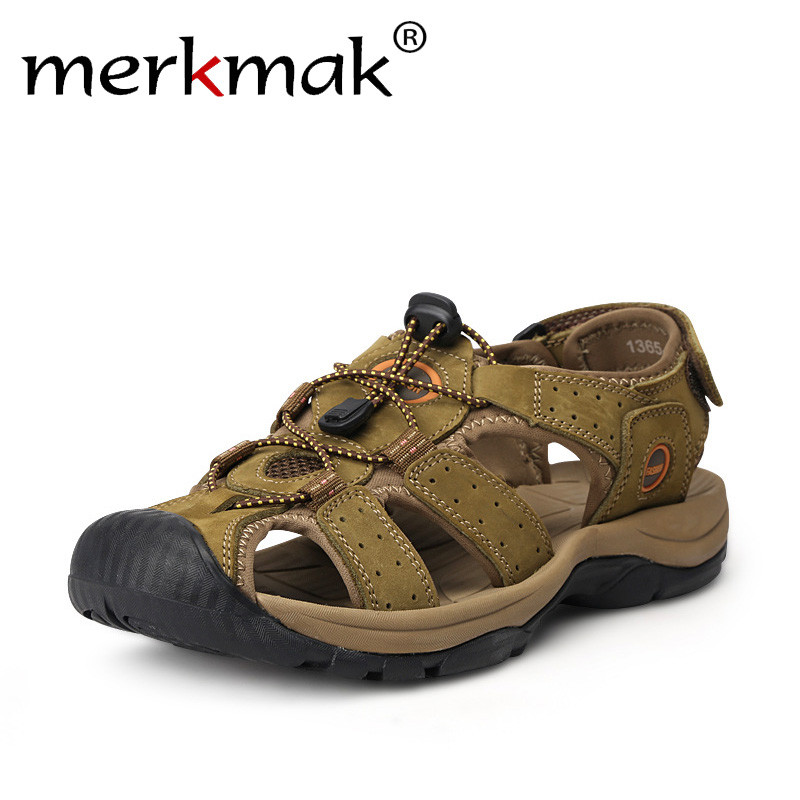 b6996e32f9791 Merkmak Genuine Leather Summer Outdoor Beach Sandals Anti-shock Non-Slip  Mens Casual Shoes Comfortable Toe Protective Sandals