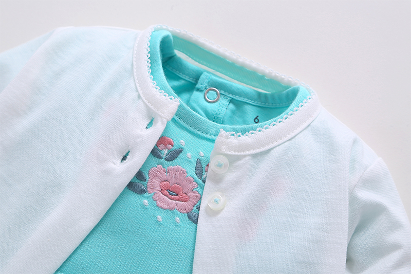 2018 Newborn Baby Girl Clothes Cotton Cardigan Small shawl +Short sleeve floral dress 2PCS Infant Toddle girl clothing Set