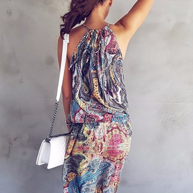 Summer Fashion Womens Boho Dresses Sleeveless O-neck Floral Off Shoulder Bohemian Style Beach Long Maxi Dress