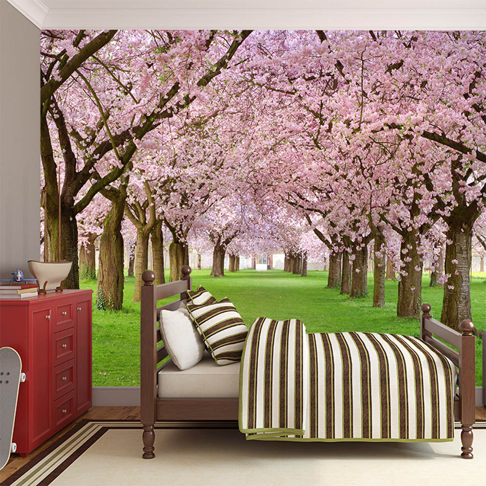 popular cherry wallpaper buy cheap cherry wallpaper lots from sakura cherry blossom floral wallpaper bathroom 3d wall mural rolls hotel bathroom livingroom restaurant cafe ktv