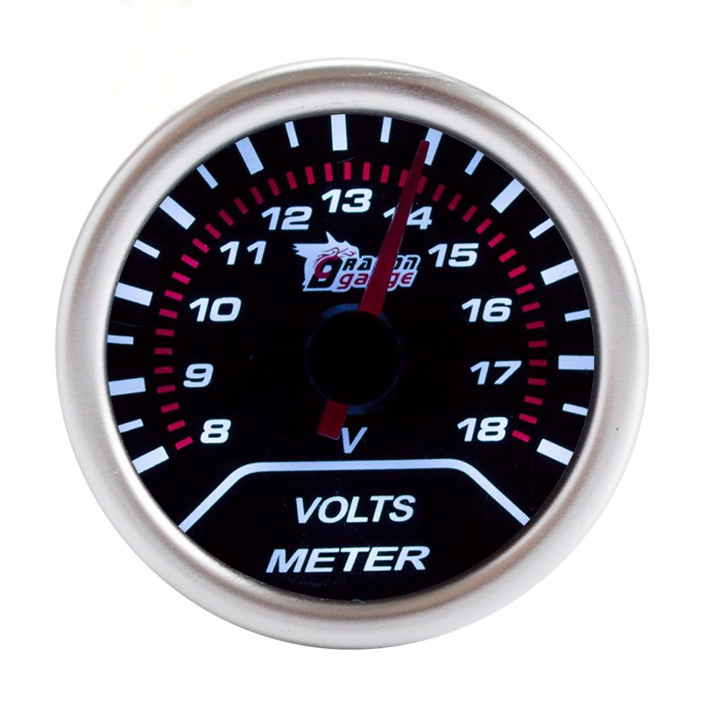 """DRAGON GAUGE VOLTS Meters Car Gauge 2"""" 52mm 8~18 V Volt Mechanical Meter Black Dial Face Silver Bezel 12V"""