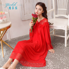 Spring and autumn Red nightdress wedding long sleeve court lace sexy modal dress comfortable breathable nightdress breathable lace panel lantern sleeve nightdress
