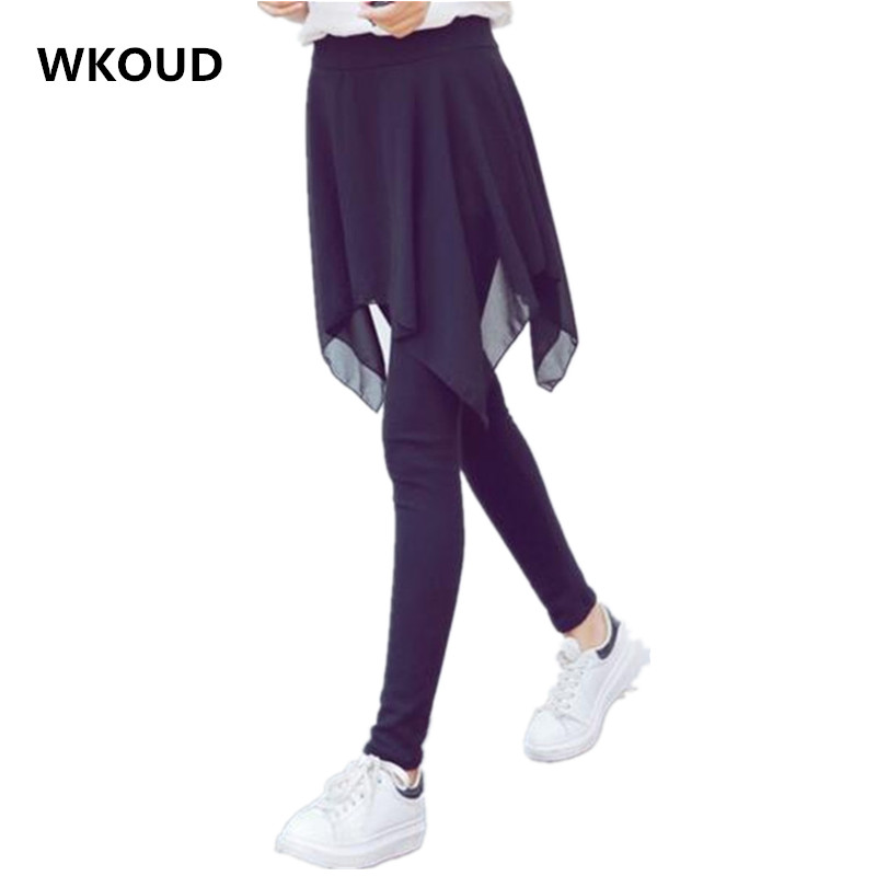 WKOUD 1 Piece Women's Leggings With Skirt Solid Irregular Chiffon Skirt Leggings Female Summer Pants Casual Wear P8332