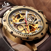 SHENHUA 2017 Steampunk Skeleton Automatice Self Widing Watch Men Retro Bronze Case Leather Mechanical Clock Man