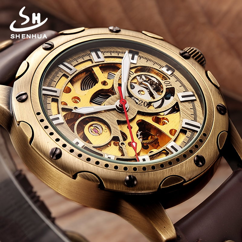 Retro Bronze Skeleton Automatic Watch Men SHENHUA Mechanical Wrist Watches Steampunk Power Self Widing Analog PU Leather Clock shenhua brand black dial skeleton mechanical watch stainless steel strap male fashion clock automatic self wind wrist watches