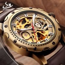 Retro Bronze Skeleton Automatic Watch Men SHENHUA Mechanical Wrist Watches Steampunk Power Self Widing Analog PU Leather Clock
